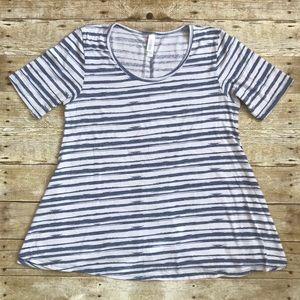 Blue and White Striped Shirt LuLaRoe Perfect M